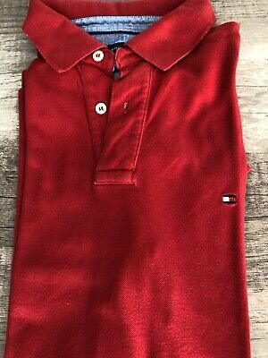 5f2e3e3446638 Tommy Hilfiger Hommes 100% Coton, Manches Courtes, Solide Taille S Polo T-