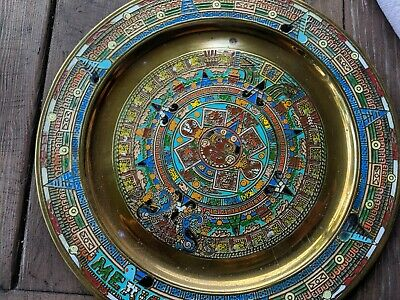 **LOOK** Vintage MAYAN Calendar Painted Symbols On Brass Color Plate Mexico Nice