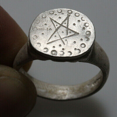Very Interest Intact Roman Silver Decorated Ring Circa 100-200 Ad
