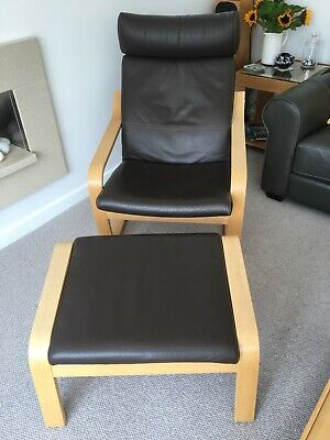 Admirable Ikea Brown Leather Poang Chair And Footstool 77 78 Machost Co Dining Chair Design Ideas Machostcouk