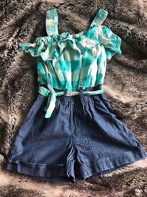 Next Girls Denim green Check Playsuit Age 5 Strapy Belted All In One Shorts