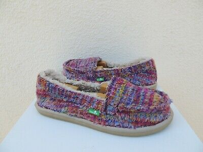 SANUK DONNA TRIBAL Magenta Multi Sidewalk Surfer Shoe, Size