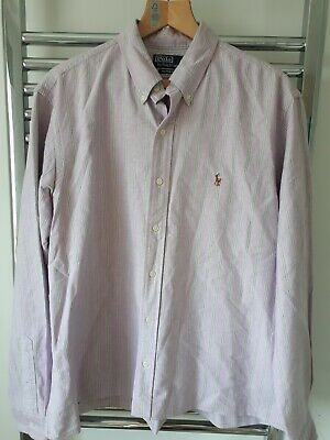 Mens Polo Ralph Lauren Custom Fit salmon Long Sleeve Shirt Size XL Extra Large