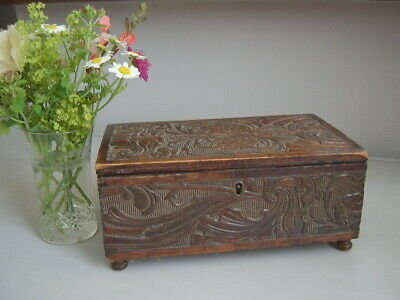 ~ Vintage Relief Carved Wooden Box On Bun Feet With Key ~