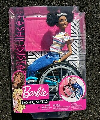 Barbie fashionista wheelchair doll 133 AA black Mattel Made to move, articulated