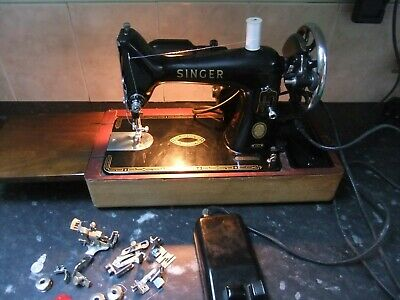 Vintage 1957 Singer 99K Electric Sewing Machine, Good Working Order With Case