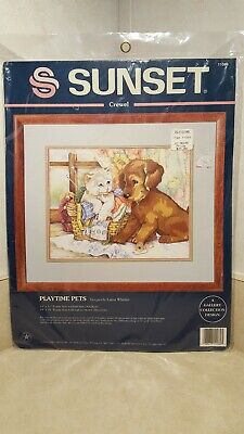 NEW Sunset Stitchery Playtime Pets Dog Cat Sewing knitting buttons Crewel Kit