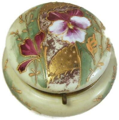 Mt Washington Hand Painted Orchid Milk Glass Trinket Dresser Box with Gold Beads
