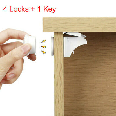 4x Invisible Magnetic Baby Locks Pet Cupboard Drawer Safety Lock Catch N7J0D