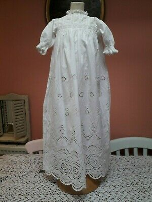 vintage christening dress doll cotton antique baby broderie anglaise white