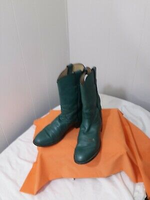 Justin Roper Cowboy Western Boots Green Leather USA Size 6.5C Wide Rounded Toe