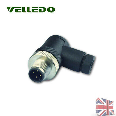 New Sensor Cable Connector 4 Pin Male Bent Plug IP67 M12 Threaded Connector UK