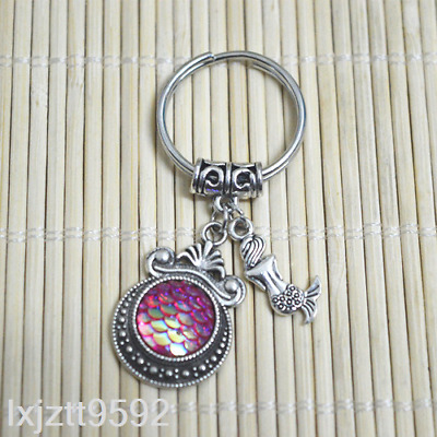 ROSE AB Mermaid keychain, bagcharm zipper bag charm Fish scales party favors#*