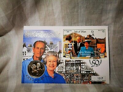 1997 Isle of Man Golden Wedding Anniversary Five Pound Coin First Day Cover [1]