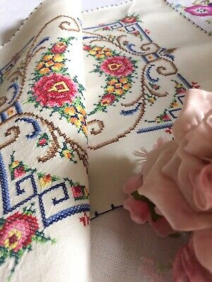 Vintage Linen Tray Cloth Pretty Hand Embroidered Cross Stitched Bright Florals