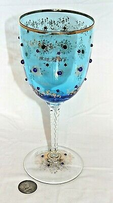 """EXTRA LARGE Antique Bohemian Glass Goblet Cobalt Blue Gilded 12.75"""" TALL"""
