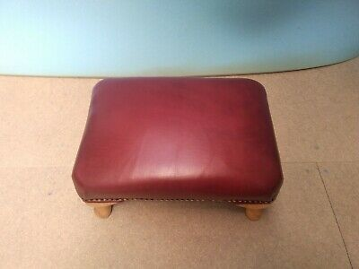 Footstool Red Leather Hardwearing Foot Stool