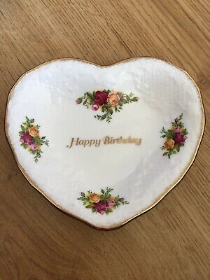 Royal Albert Old Country Roses Happy Birthday Heart Dish Bone China Good Cond