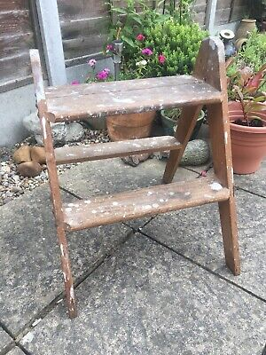 Remarkable Vintage Folding Wooden Step Ladder 2 Steps Unrestored Beatyapartments Chair Design Images Beatyapartmentscom