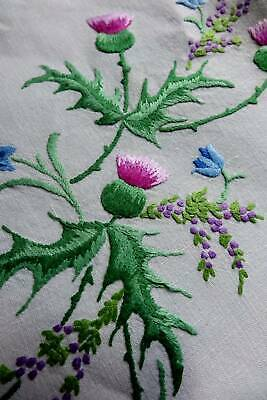 Vintage large Irish linen hand embroidered tablecloth - Thistles & Lucky Heather