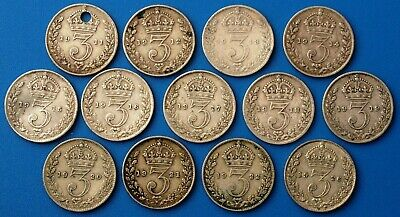 George V x 13 silver 3d three pence coins