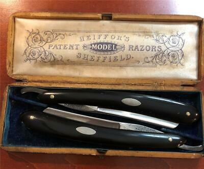 "Old Antique John Heiffor Straight Razor  Pair 3/4"" In Box"