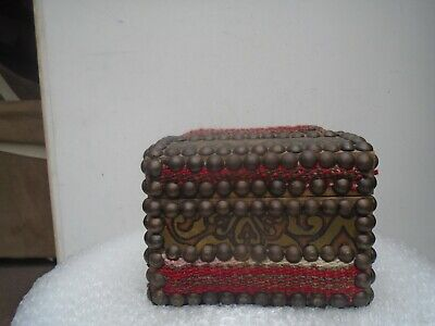 Interesting vintage ethnic wooden casket / box with very unusual decoration LOOK