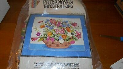 "Vntg Paternayan Tapestries Crewel Kit#60057 Flower Basket 16"" X 20"" Complete Kit"