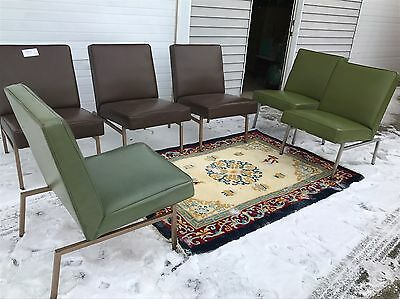 MCM Chrome Brown or green Vinyl Waiting Room Chair