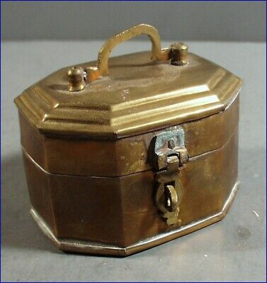 Vintage Mini Brass Cricket Insect Cricket Cage Trinket Box, Handle & Clasp