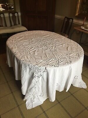 Vintage White Embroidered Cut Linen Large Tablecloth (or Bedspread)