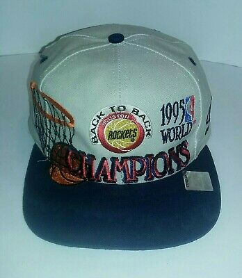 86d29213 Vintage 1995 NBA Houston Rockets Back 2 Back Logo Athletic Cap One Size  Fits All