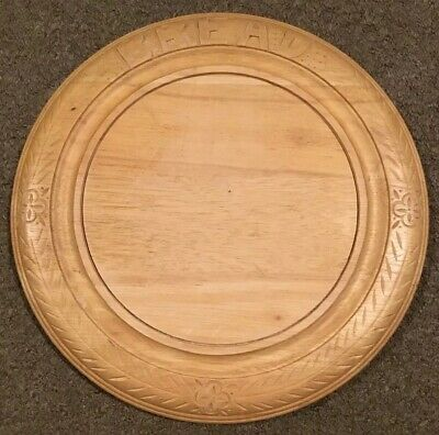 Vintage Large Heavy Round Wooden Bread Board With Carved Edge
