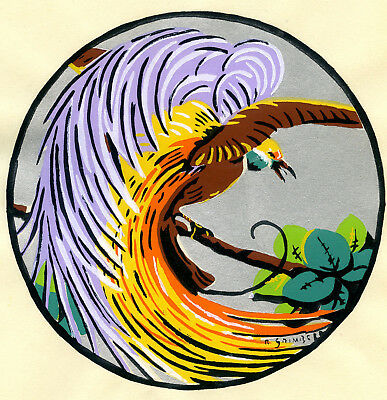 1930s French Pochoir Print Art Deco Paradise Bird Colored Long Feathers