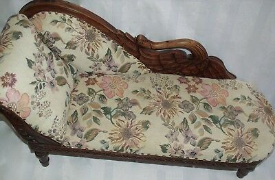 Gorgeous Child Size Antique Victorian  Swan Fainting Couch-Chaise Lounge Chair