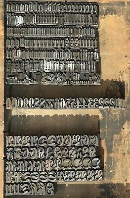 Vintage Lot 238 Letterpress Metal Type Printing Letters Numbers Unique Font 7/8""