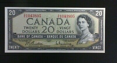 1954 Bank Of Canada  ($20.00 ) Twenty  Dollar Banknote Beattie Rasminsky