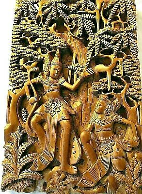 Antique 19c Thai Ornately Detailed Wood Hand Carved Relief Panel of Rama & Sita