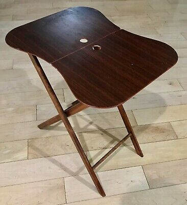 Vintage TV Tray Kidney Shaped MCM Folding Design Great Condition (1)