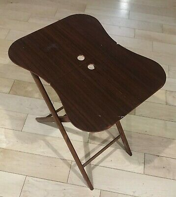 Vintage TV Tray Kidney Shaped MCM Folding Design Great Condition (2)