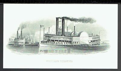 ABN 'Western Steamer' Time-Life  19th Century Intaglio Reprint 1978