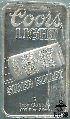 Sunshine Mining Coors Light 5 Troy oz Fine Silver .999 Silver Bullet Bar
