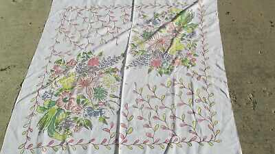 "Vintage White Linen Tablecloth 51"" Square Pastel Pink Yellow Tropical Floral MOD"