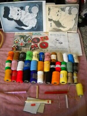 HUGE lot Purr-fect Punch embroidery punch needle kit iron patterns + 36  threads