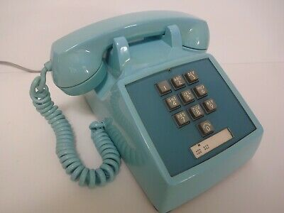Antique Western Electric telephone 1500 touch tone phone 10 button in Blue