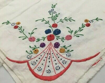 Vintage Hand Embroidered Cotton Tablecloth 52x52  Table Topper