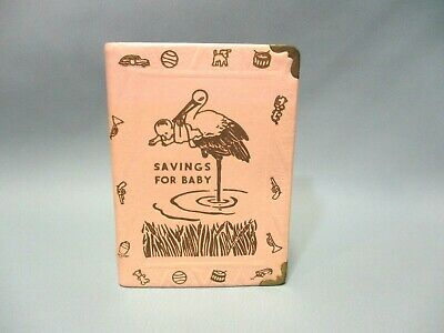 Vintage The Zell Co. Savings Bank for Baby ABC Book Bank W/Key