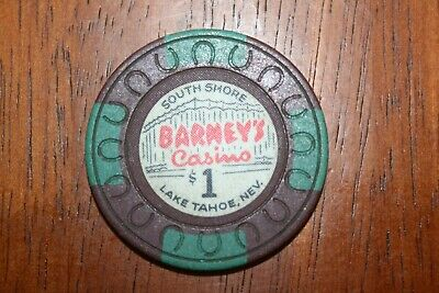 Brown Barney's Casino $1 Chip South Lake Tahoe Nevada Horseshoe Mold Stands
