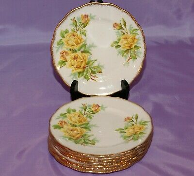 "Royal Albert Bone China Yellow ""Tea Rose"" Lot of 8 Eight 6.25"" Bread Side Plates"