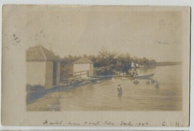 1907 Forest Lake Minnesota Swimming Boat Houses Real Photo Postcard RPPC